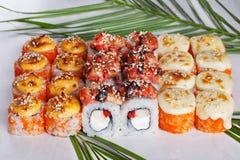 Set Roll with shrimp sushi cap sesame yaki Stock Photo