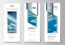Set of roll up banner stands, blue flat design templates, abstract geometric style, modern business concept, corporate Royalty Free Stock Photos