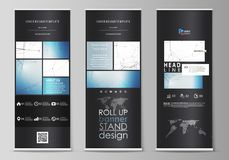 Roll up banner stands, flat design templates, geometric style, vertical vector flyers, flag layouts. Geometric blue stock illustration