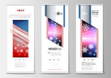 Set of roll up banner stands, flat design templates, abstract geometric style Stock Images