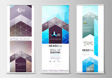 Set of roll up banner stands, flat design templates, geometric style, business concept, corporate vertical vector flyers Royalty Free Stock Photos