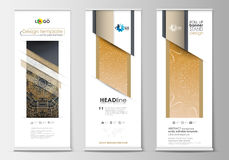 Set of roll up banner stands, flat design templates, geometric style, business concept, vertical flyers. Golden Royalty Free Stock Image