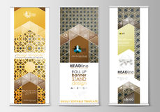 Set of roll up banner stands, flat design templates, modern business concept, corporate vertical flyers. Islamic gold Royalty Free Stock Photography