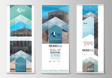 Set of roll up banner stands, flat templates, geometric style, business concept, corporate vertical flyers. Abstract Stock Photos