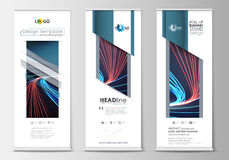 Set of roll up banner stands, flat templates, geometric style, modern business concept royalty free illustration