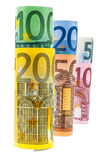 Set of rolled euro banknotes Stock Photos
