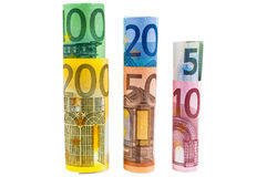 Set of rolled euro banknotes Stock Images