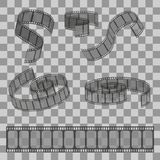 Set of filmstrip rolls. Group of realistic movie and cinema elements or objects. Set of rolled filmstrip rolls. Group of realistic movie and cinema elements or Stock Images