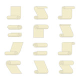 Set of rolled paper icons Stock Image