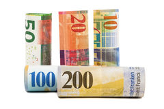 Set of rolled swiss franc banknotes Stock Photography