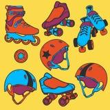Set of roller skates Stock Photos