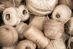 Set of Rolls of brown linen thread. Set or rolls of linen thread Stock Images
