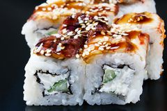 Set of rolls with eel. Cheese, sesame royalty free stock photography