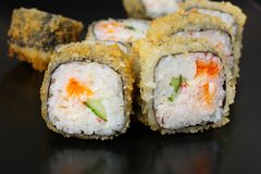 Set of rolls with eel. Cheese royalty free stock photo