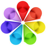 Set of rolls of rainbow color materials Royalty Free Stock Photography