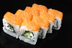 Set of rolls with salmon. Cheese stock photo