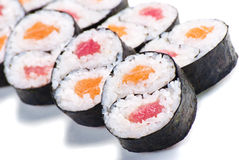 Set of rolls with a salmon and eel isolated Stock Photo