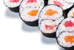 Set of rolls with a salmon and eel isolated Stock Image