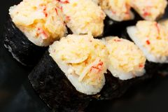 Set of rolls with salmon. Cheese,crab royalty free stock photography