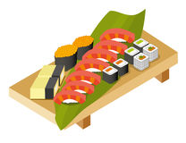 The set of rolls, sushi, salmon with rice, salmon caviar on a wo Stock Image