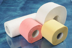 Set of rolls of toilet paper and paper towels Stock Image
