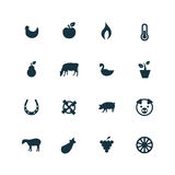 Set rolnictwo, rolne ikony Zdjęcie Stock