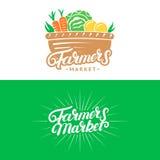Set rolnika rynku ręka pisać piszący list loga, etykietki, odznaki, emblematy Zdjęcia Royalty Free