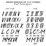 Set of roman numerals in hand drawn style. Set of roman numerals in hand drawn technique and grunge style isolated on white. Serif and sans serif variants Royalty Free Stock Images