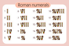 Set of Roman numerals. Vector illustration. A set of digits for teaching children Royalty Free Stock Photography