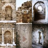 Set of Roman open and immured arch doorways in Royalty Free Stock Image