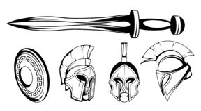 Set of roman or spartan warrior head, spartan helmet for head with roman armor and sword, spartan warrior in black and white. Vector graphics to design vector illustration