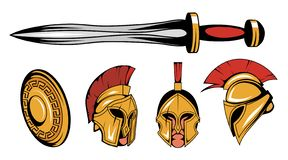 Set of roman or spartan warrior head, spartan helmet for head with roman armor and sword, spartan warrior colored drawing. Vector graphics to design royalty free illustration