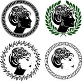 Set of roman woman profiles Royalty Free Stock Photography