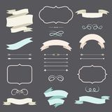 Set of romantic arrows, ribbons and labels in Stock Photo