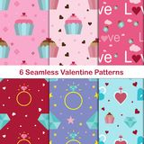 6 Set of romantic background on Valentine`s Day.Collection of Valentine`s Patterns. Royalty Free Stock Image