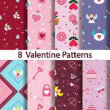 8 Set of romantic background on Valentine`s Day. Royalty Free Stock Photos
