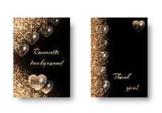 Set of romantic backgrounds with glitter. Heart background pattern with shimmering lights. Vibrant design on a black backdrop. Valentines Day banner with hearts royalty free illustration