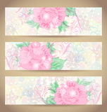 Set romantic beautiful cards with flower Royalty Free Stock Photo