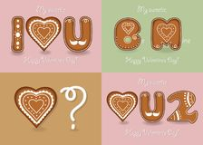 Set of romantic cards with Gigerbreads cookies royalty free stock photo