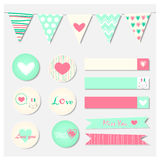 Set of Romantic and Cute Vector Stickers. Notes , Labels Royalty Free Stock Photo