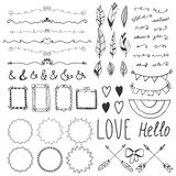 Set of romantic decor elements. Hand drawing style, sketchy vint Stock Image