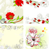 Set of romantic floral background. Universal template for greeting card, web page, background Royalty Free Stock Photo