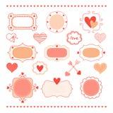 Set romantic frames and hearts Stock Photo