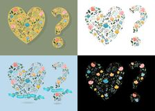 Set of romantic greeting cards for Valentine Day. Hearts and Question Marks. Graceful floral decor with watercolor effect. Blue ribbon with text. Vector Royalty Free Stock Image