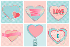 Set of romantic heart shapes Royalty Free Stock Image