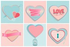 Set of romantic heart shapes Royalty Free Stock Image