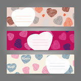 Set of Romantic horizontal banners. Hearts ornament. Vector Illusration. Royalty Free Stock Photos