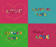 Set of romantic inscriptions for cards Royalty Free Stock Photography