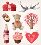 Set of romantic items for valentine Royalty Free Stock Photos