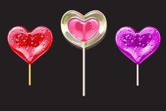 Set of romantic lollipops in the shape of a heart on a black. Sweetness for Valentines day. Vector illustration. Set of romantic lollipops in the shape of a Stock Photo